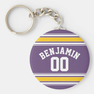 Purple Yellow Jersey Stripes Custom Name Number Basic Round Button Key Ring