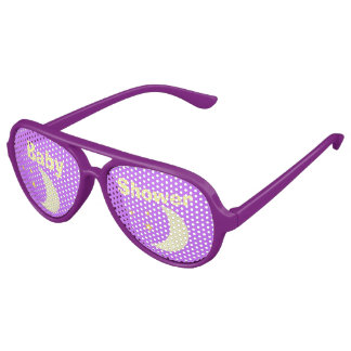 Purple & Yellow Moon & Stars Aviator Party Shades