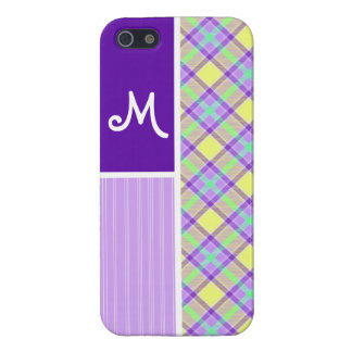 Purple & Yellow Plaid Cover For iPhone 5