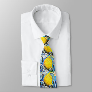Purple & Yellow Prickly Pear Cactus Men's Tie
