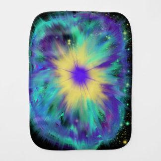 Purple Yellow Space Starburst Baby Indie Art Burp Cloth