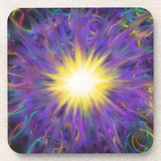 Purple Yellow Star Abstract Art Painting Design Coaster