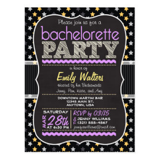 Purple, Yellow Stars Bachelorette Party Invitation Postcard