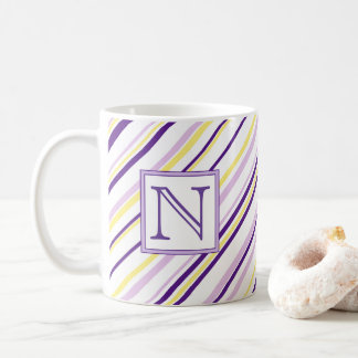 Purple & Yellow Stripe Monogram Mug