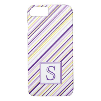 Purple & Yellow Stripe Monogram Phone Case
