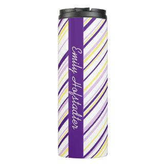 Purple & Yellow Stripe Personalized Tumbler Thermal Tumbler