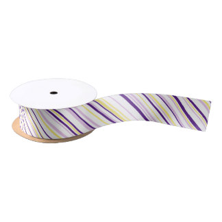 Purple & Yellow Stripe Ribbon Satin Ribbon
