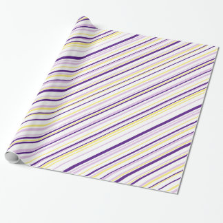 Purple & Yellow Stripe Wrapping Paper