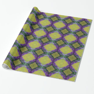 Purple Yellow Tile Pattern Wrapping Paper