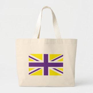 Purple Yellow Union Jack British UK Flag Tote Bag
