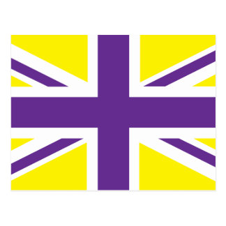 Purple Yellow Union Jack British(UK) Flag Postcard