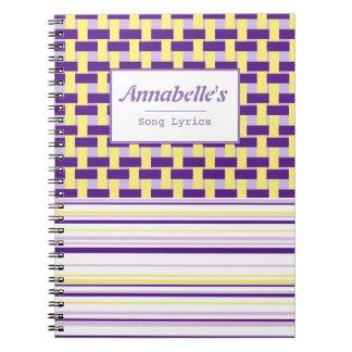Purple & Yellow Weave Customizable Notebook