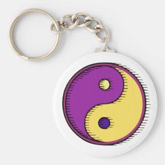 Purple Yellow Windblown Yin Yang Basic Round Button Key Ring