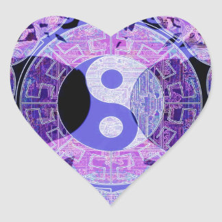 Purple Yin Yang Heart Sticker