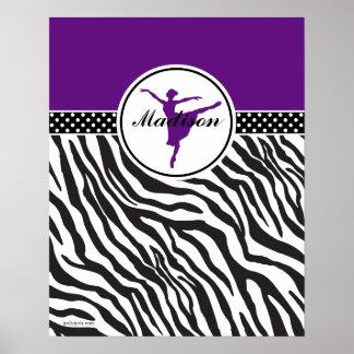 Purple Your Name Zebra Print Ballet Dancer