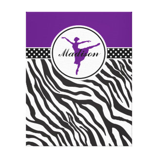 Purple Your Name Zebra Print Ballet Dancer Gallery Wrapped Canvas