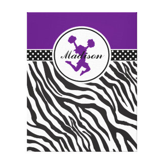 Purple Your Name Zebra Print Cheerleader / Pom Stretched Canvas Print