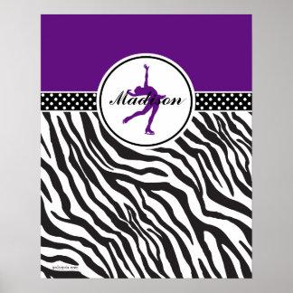 Purple Your Name Zebra Print Figure Skating