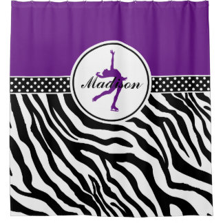Purple Your Name Zebra Print Figure Skating Shower Curtain