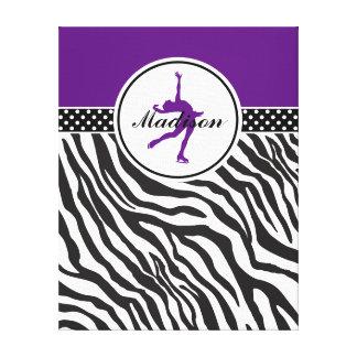 Purple Your Name Zebra Print Figure Skating Stretched Canvas Prints