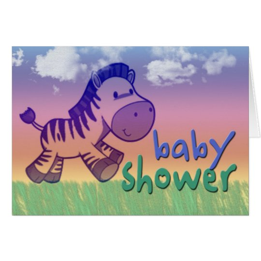 Purple zebra baby shower card