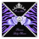 Purple Zebra Baby Shower Girl Princess Diamond 13 Cm X 13 Cm Square Invitation Card