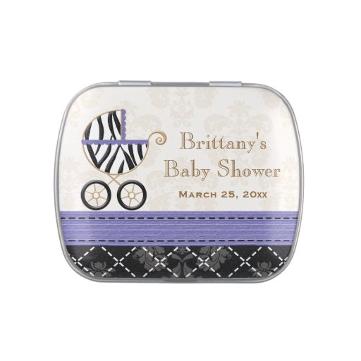 Purple Zebra Carriage Baby Shower Favor Jelly Belly Candy Tin