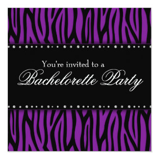 """Purple Zebra Diamonds Bachelorette Party 5.25"""" Square Invitation Card"""