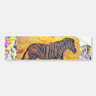 purple zebra drip painting bumper sticker