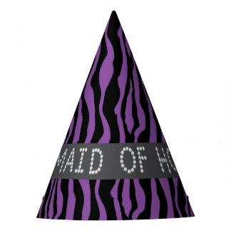 Purple Zebra Faux Diamond Maid Of Honor Party Hats