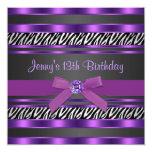 Purple Zebra Girls 13th Birthday Party Personalized Invitation