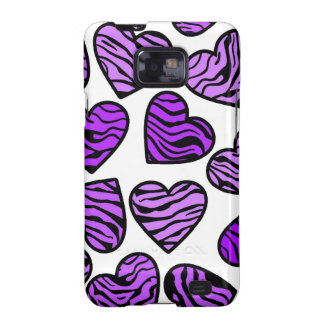 Purple zebra hearts BlackBerry Samsung Galaxy Case Galaxy SII Case