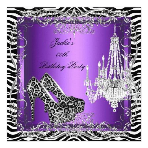 Purple Zebra Leopard Print Party Shoes 13 Cm X 13 Cm ...
