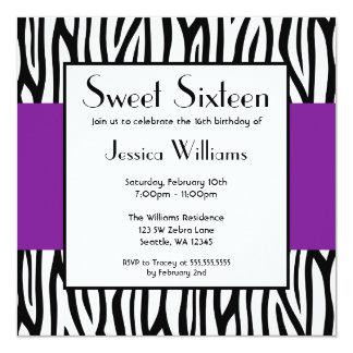 Purple Zebra Modern Sweet 16 Card