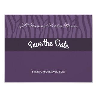 Purple Zebra Pattern Save the Date Card