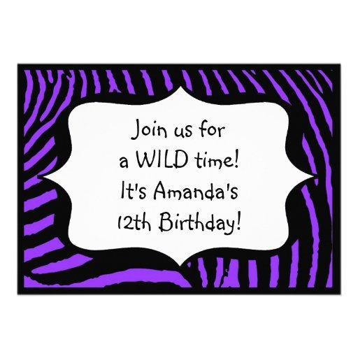 Purple Zebra Print Birthday Invitation