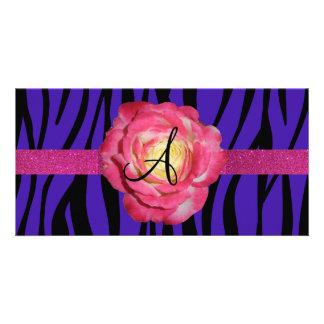 Purple zebra stripe monogram pink rose customized photo card