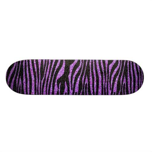 Purple Zebra stripe pattern (faux glitter bling) Skate Decks