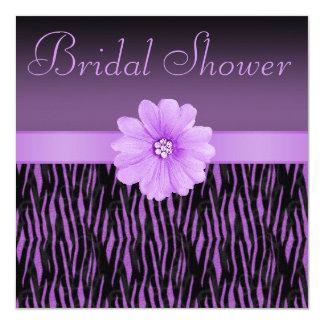Purple Zebra Stripes Bling Flower Bridal Shower Card