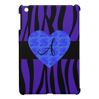 Purple zebra stripes monogram blue roses iPad mini case
