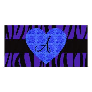 Purple zebra stripes monogram blue roses custom photo card