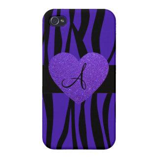 Purple zebra stripes monogram heart case for iPhone 4