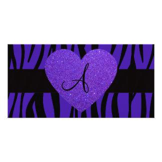 Purple zebra stripes monogram heart photo greeting card