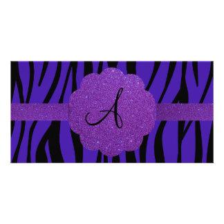 Purple zebra stripes monogram customized photo card