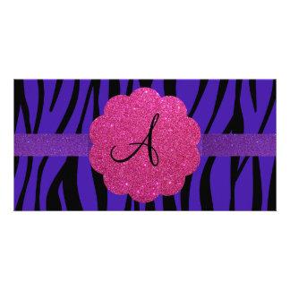 Purple zebra stripes monograms customized photo card
