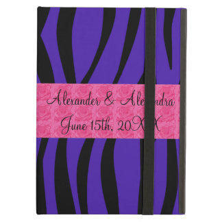 Purple zebra stripes pink roses wedding favors cover for iPad air