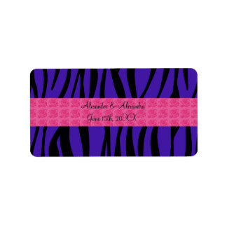 Purple zebra stripes pink roses wedding favors address label