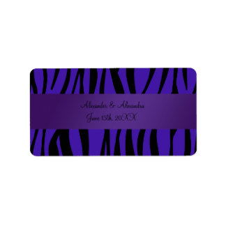 Purple zebra stripes wedding favors address label