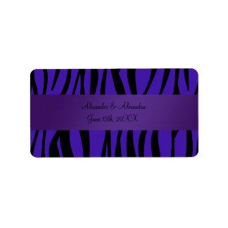 Purple zebra stripes wedding favors address label