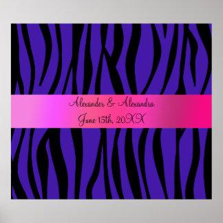 Purple zebra stripes wedding favors poster